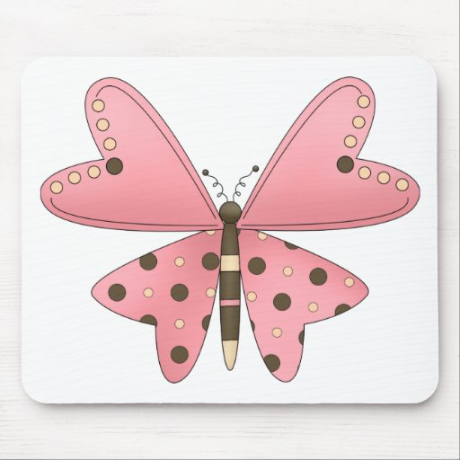 Cute as a Bug · Pink & Brown Butterfly Mouse Pad