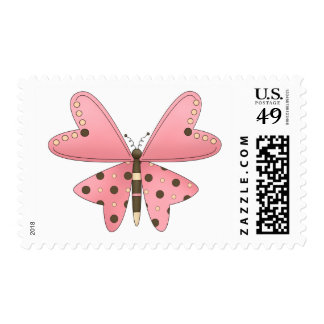 Cute as a Bug · Pink & Brown Butterfly Postage