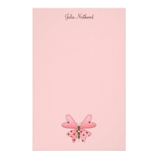 Cute as a Bug · Pink & Brown Butterfly Stationery