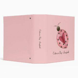 Cute as a Bug · Pink & Brown Ladybug 3 Ring Binder