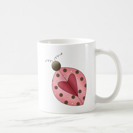Cute as a Bug · Pink & Brown Ladybug Coffee Mug