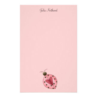 Cute as a Bug · Pink & Brown Ladybug Stationery