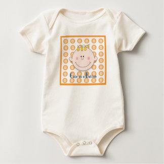 Cute as a Buttom Orange Baby Bodysuit