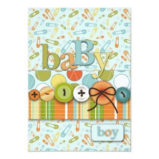 Cute as a Button Baby Boy Baby Shower Card