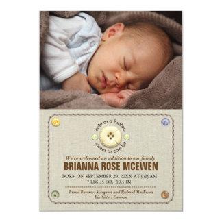 Cute as a Button Baby Photo Birth Card
