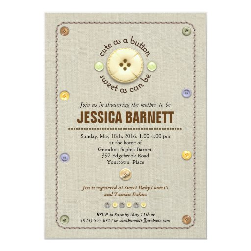 cute as a button baby shower 5x7 paper invitation card zazzle