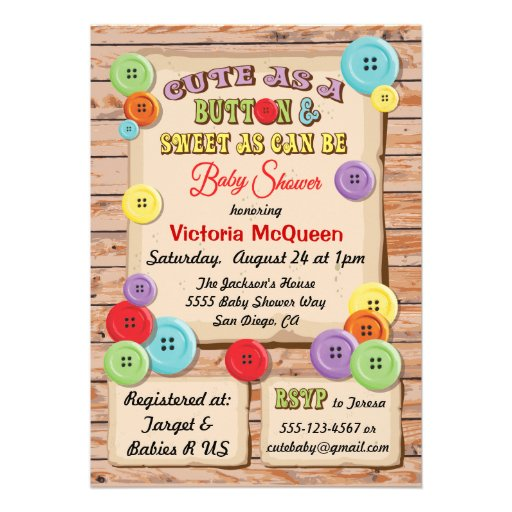 cute as a button baby shower invitation 5 x 7 invitation card