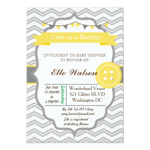 cute as a button baby shower invitations zazzle