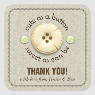 Cute as a Button Baby Shower Sip and See Square Sticker