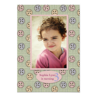 "Cute as a Button Birthday Party Invitation 5"" X 7"" Invitation Card"
