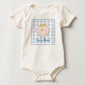 Cute as a button blue baby bodysuit