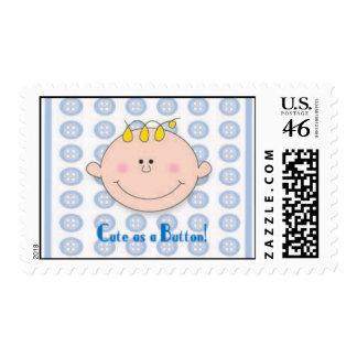 Cute as a Button Blue stamp