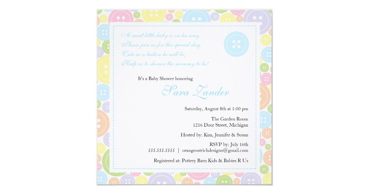 cute as a button boy baby shower invitation zazzle