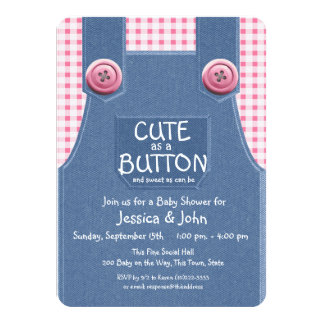 Cute as a Button Denim and Pink 4.5x6.25 Paper Invitation Card