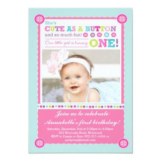 Cute as a Button First Birthday (Photo) 5x7 Paper Invitation Card