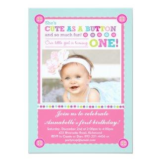 Cute as a Button First Birthday (Photo) Card