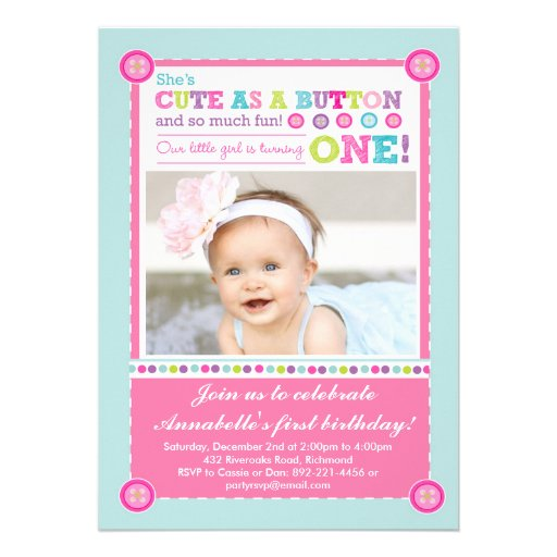 Cute as a Button First Birthday (Photo) Invitations (front side)