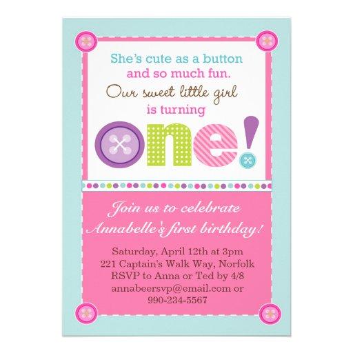Cute as a Button First Birthday (Photo) Custom Invitations