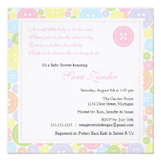 Cute as a Button Girl Baby Shower Invitation