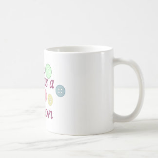 Cute as a button (girl) classic white coffee mug