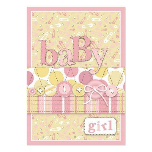 Cute as a Button Girl Reminder Notecard Business Card Templates