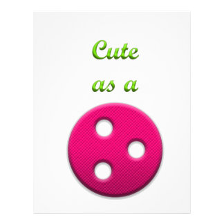 Cute as a Button in Pink and Green Letterhead