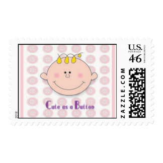 Cute as a Button in Pink Postage Stamps