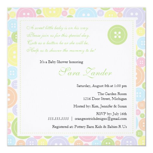 "Cute as a Button Neutral Baby Shower Invitation 5.25"" Square Invitation Card"