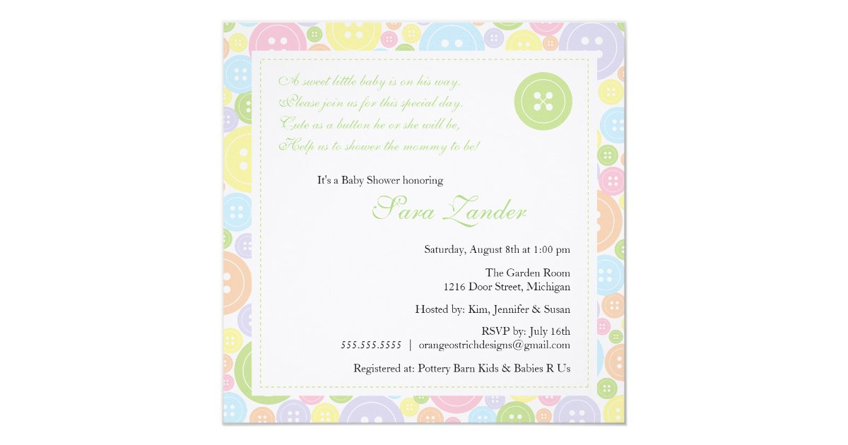 cute as a button neutral baby shower invitation zazzle