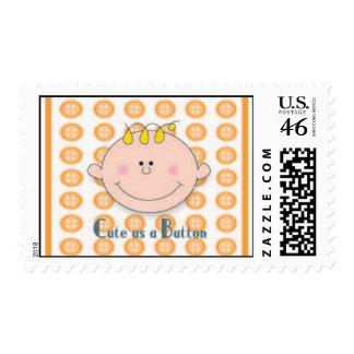 Cute as a Button Orange Stamp