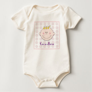 Cute as a button Pink Baby Bodysuit
