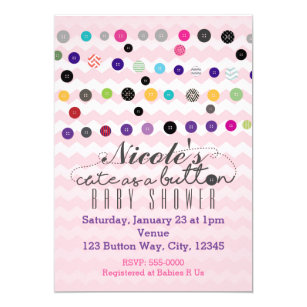 CUTE AS A BUTTON Pink Baby Shower Invitations