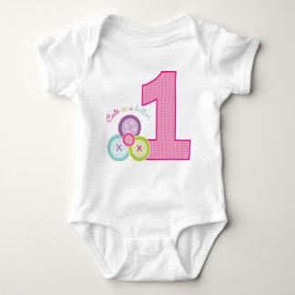 Cute as a Button (Pink) First Birthday Shirt