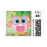 Cute as a Button Pink Owl Postage Stamps