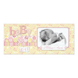 Cute as a Button Tall Girl Announcement Card