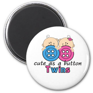 Cute As A Button Twin Girl & Boy 2 Inch Round Magnet