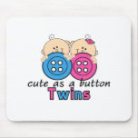 Cute As A Button Twin Girl & Boy Mouse Pad