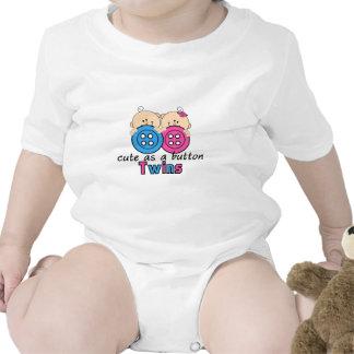 Cute As A Button Twin Girl & Boy Tshirt