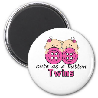 Cute As A Button Twin Girls 2 Inch Round Magnet