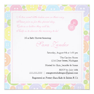 Cute as a Button Twin Girls Baby Shower Invitation