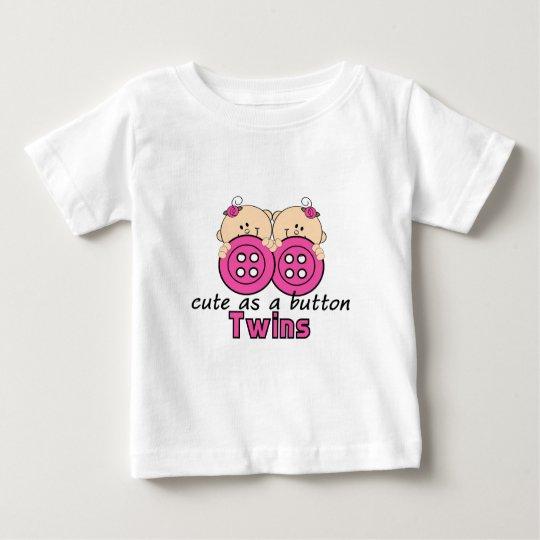 Cute As A Button Twin Girls Baby T-Shirt