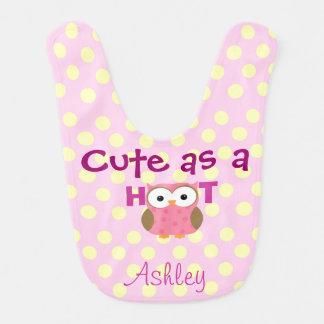Cute as a Hoot Polka Dot Baby Bib