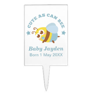 Cute as can Bee, Baby Boy Baby Shower Cake Topper