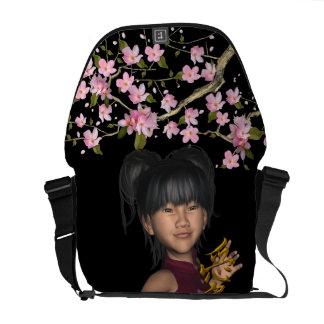 Cute Asian Child Love Symbol Cherry Blossoms Messenger Bag
