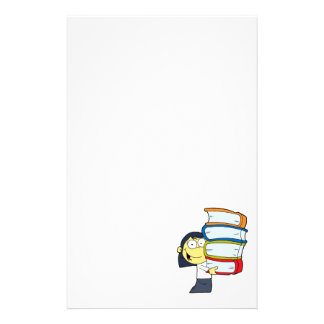 cute asian girl student with lots of books stationery