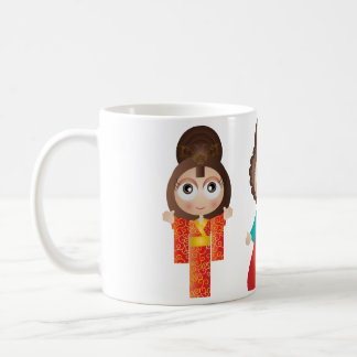 Cute Asian girls in traditional custome Classic White Coffee Mug