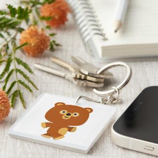 Cute Assertive Cartoon Bear Acrylic Keychain