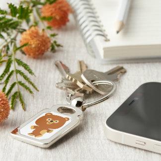Cute Assertive Cartoon Bear Metal Keychain