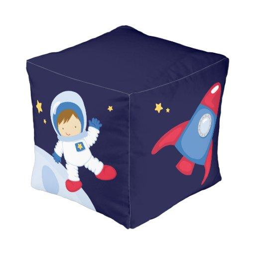 Cute Astronaut Boy Cube Pouf Zazzle