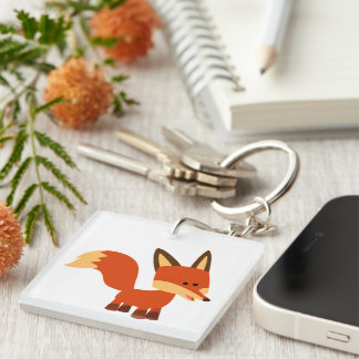 Cute Astute Cartoon Fox Acrylic Keychain